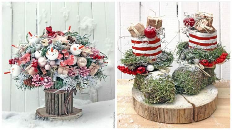 Різдвяний декор з ягодами, яблуками та горіхами