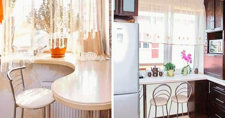 22 ідеї для облаштування функціонального підвіконня на маленькій кухні